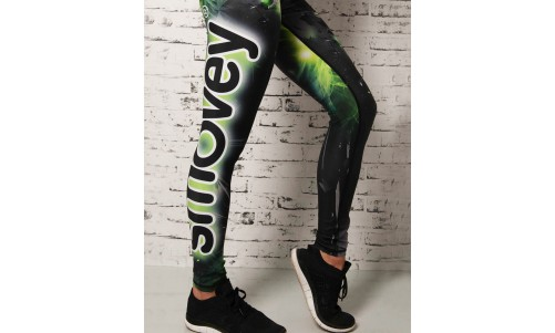 FITNESS-HOSE - Green Crystal Camouflage | Damen