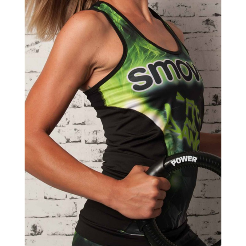 FITNESS-TOP - Green Crystal Camouflage - Damen Gr. S